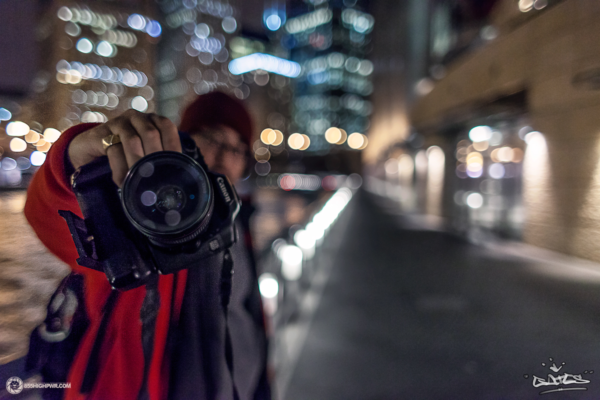 Phil Gates shooting time-lapse footage by the Chicago River.
