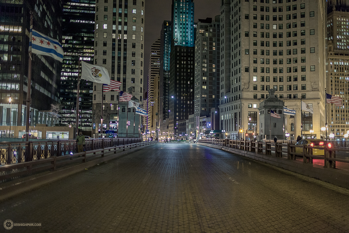 Michigan Avenue Chicago River bridge shot by Phil Gates - Highpower Studios